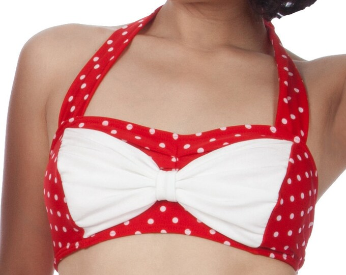 Cyndy Polka-Dotted Bikini Top in Red/White XS only