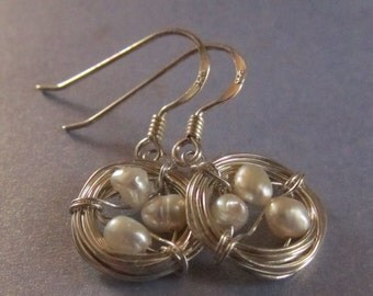 Birds Nest Sterling Silver Earrings, sterling wire wrapping with Mini fresh water pearls in center, penny size