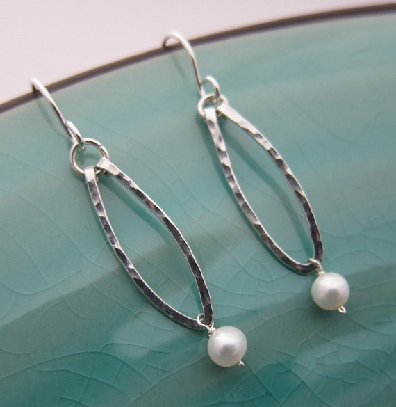Sterling Silver Long Teardrop Earrings with White Pearl, Nature Inspiration, hammered and textured