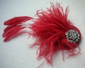 Christmas handmade 1920s inspired pillar box red feather fascinator