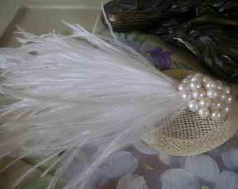 New handmade 1920s inspired ivory and white feather pearl fascinator