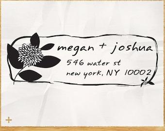 CUSTOM ADDRESS STAMP with proof from usa, Eco Friendly Self-Inking stamp, rsvp address stamp, library stamp, wedding designer stamp flower