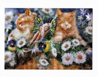 Faery and Tabby Cats, Glossy Art Print