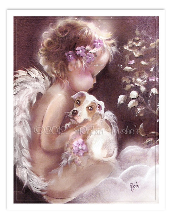 Sale** Little Angel and Puppy, 11x15 Print from Original