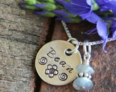 Small Sterling Silver Circle Tag Necklace With Gemstones - Handstamped, Handwritten or block font