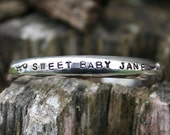 Baby Cuff Bracelet- Sterling Silver - PERSONALISED - Hand Stamped