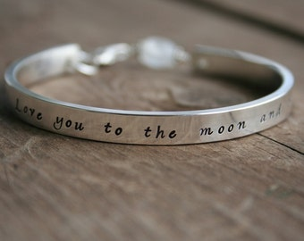 Love You To the Moon and Back Sterling Cuff bracelet - 2 day shipping