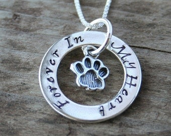 Eternity Circle Necklace for Pet Owners - Cat or Dog - personalised with names - Pawprint