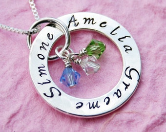 Hand Stamped Necklace -  Mother's Eternity Circle - 2 sided engraving