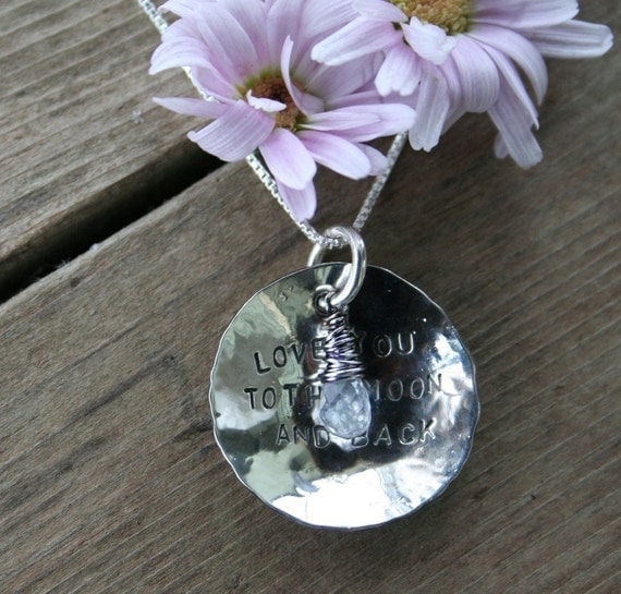 Love You To The Moon and Back, Sterling and Moonstone Necklace, block