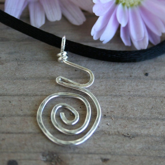 Pregnancy and Birth Spiral Pendant , Hammered Sterling Silver ORIGINAL on Satin Cord