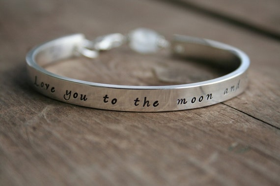 Love You To the Moon and Back Sterling Cuff bracelet - Moonstone Clasp