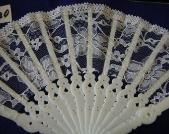 Choose Your White or Ivory Lace Miniature Fan or Parasol by Mangelsen's S 86