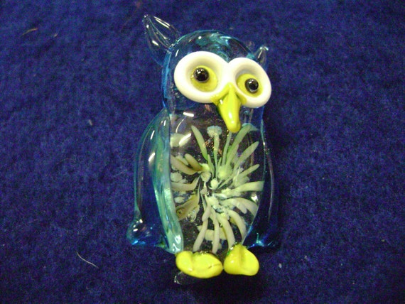 Solid Glass Owl with Glow in the Dark Flower Focal Pendant  for Necklace  CP 313