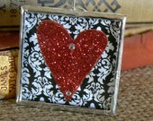 Red Glitter Heart  Soldered Charm Pendant  Valentine ready