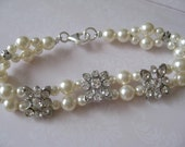 Bridal Jewelry - Bridal Accessories - Wedding Jewelry - Bride-Bridesmaids Rhinestone spacers and pearls bracelet