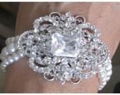 Bride bridesmaids Rhinestone Brooch Pearl Bracelet Collection Regal Bridal Accessories Wedding Jewelry