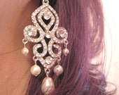 Bridal Jewelry Bride - bridesmaids - Rhinestone Chandelier Pearl Earrings Collection Supreme