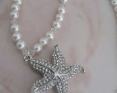 Bride - Bridesmaids - Starfish Rhinestone Pearl Necklace Bridal Jewelry Bridal Accessories Wedding Jewelry