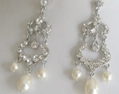 Bride - Bridesmaid - Rhinestone Chandelier Earrings - Teardrop Pearl - Vintage 2 Bridal Jewelry Bridal Accessories