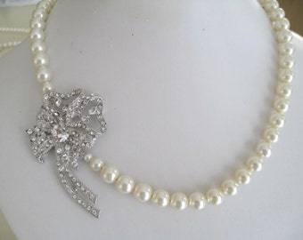 Bride - Bridesmaids - Bridal Pearl Necklace Brooch Collection Rose-rhinestone brooch-vintage inspired