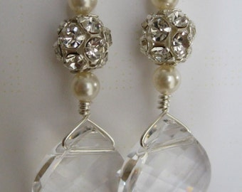 Bride - Bridesmaids - Swarovski Briolette -rhinestone-pearl earrings Bridal Jewelry Bridal Accessories Wedding Jewerly