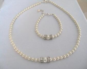 Wedding Jewelry Flower Girl Pearl Rhinestone necklace and bracelet set - Bridal Accessories-Wedding Jewelry