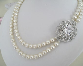 Bride bridesmaid rhinestone brooch Pearl Bridal Necklace multi strands-Bridal Jewelry-Bridal Accessories-Wedding Jewelry