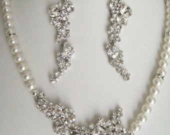 Bride Bridesmaids Multi Shape Rhinestones Center Pearl Necklace - Bridal Jewelry-Bridal Accessories -Wedding Jewelry - Christmas Jewelry