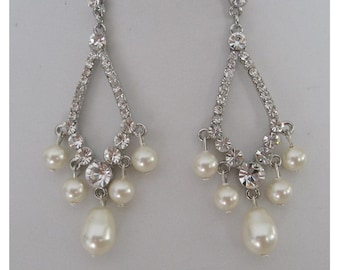 Bride Bridesmaids Rhinestone Chandelier Pearl Earrings Collection Classic Bridal Jewelry Bridal Accessories Wedding Jewelry