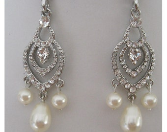 Bride - Bridesmaid - Rhinestone - Pearl Chandelier Earrings Collection Petals - Bridal Jewelry - Bridal Accessories