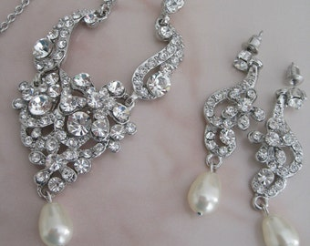 Bride Bridesmaids Rhinestone Center pearl Necklace and Earrings jewelry Set - Bridal Jewelry  Wedding Jewelry-Bridal Accessories
