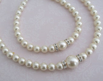 Bride-Bridesmaids Pearl necklace and bracelet Set Bridal Jewelry Bridal Accessories Wedding Jewelry