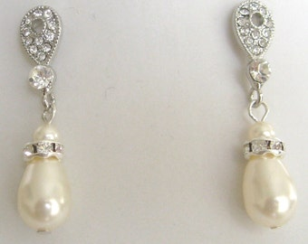 Bridal Jewelry Bridal Accessories Wediing Jewelry Bride Bridesmaids rhinestone and pearl earrings