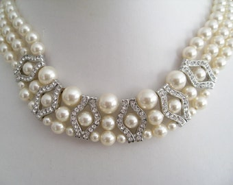 Bride Bridesmaids Pearl Crown Rhinestone Necklace - 3 strands pearl necklace - Bridal jewelry - Bridal Accessories - Wedding Jewelry