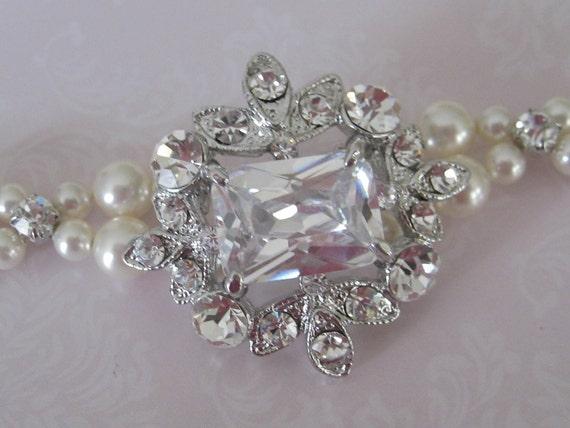 Bride - Bridesmaids - Rhinestone Brooch Pearl Bracelet  CZ - Bridal Jewelry-Wedding Jewelry - Bridal Accessories