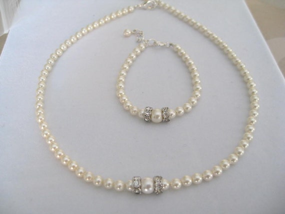 Wedding Jewelry Flower Girl Pearl Rhinestone necklace and bracelet set - Bridal Accessories-Wedding Jewelry