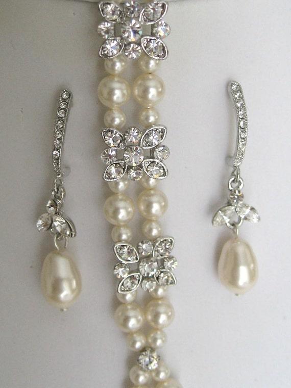 Bride - Bridesmaids - Rhinestone Pearl Bracelet and Earrings Set-Bridal Jewelry - Bridal Accessories - Wedding Jewelry