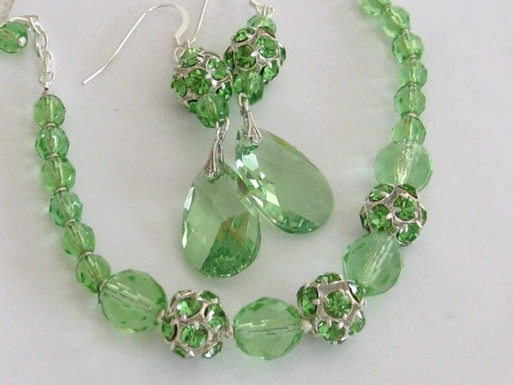 Bridesmaids Apple Green Swarovski rhinestone Bracelet and Earrings Set-Bridal Jewelry - Bridal Accessories-Wedding Jewelry