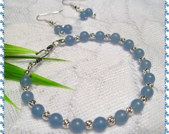 Blue Chalcedony Bracelet and Earrings