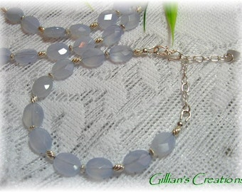 Blue Chalcedony Bracelet with Sterling Silver Findings    FREE SHIPPING
