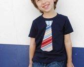 NAVY fine Jersey T-shirt with A NAUTICAL stiriped  NECKTIE   applique .....  Very Trendy  kids shirt