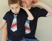 As seen on The Today Show..FATHER and SON   gift set....... fine jersey Navy t-shirt with a Nautical   Stripes NECKTIE appliqué