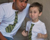FATHER and SONs..................  fine jersey White t shirt with Black and Green Stripes NECKTIE applique.........Adorable gift set