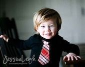 RED PLAID NECKTIE appliqued  on long sleeves rib tee  ...............Very Trendy Toddler Shirt, Great for Holiday outfit