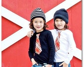 RED PLAID NECKTIE appliquéd on white or black rib tees...........Very Trendy Unisex shirt.......Great for Holiday pictures