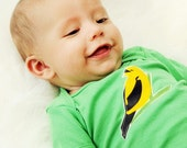 GRASS Short Sleeve baby Bodysuit  with a BIRD  APLLIQUE................Cute Unisex baby gift