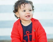 Navy baby bodysuit with a RED ANCHOR  APPLIQUE...........  Cute unisex baby gift
