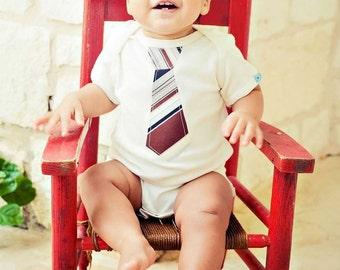 ORGANIC COTTON Short Sleeve  BODYSUIT  with a  Burgundy  Necktie Applique......Cute baby shower gift