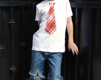 RED PLAID NECKTIE applique  on a fine jersey t shirt...... ..... Great wedding, church activities or photo shoot prop